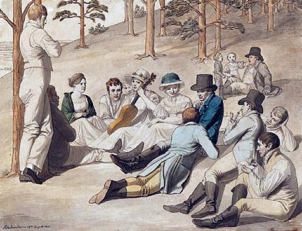 Rastende Gesellschaft in Pichelswerder bei Berlin 1812, zugeschrieben Johann Heinrich Stürmer