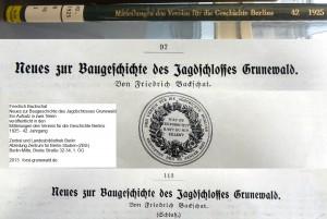 1925 Backschat Friedrich - Neues zur Baugeschichte Jagdschloss Grunewald DSC04161a