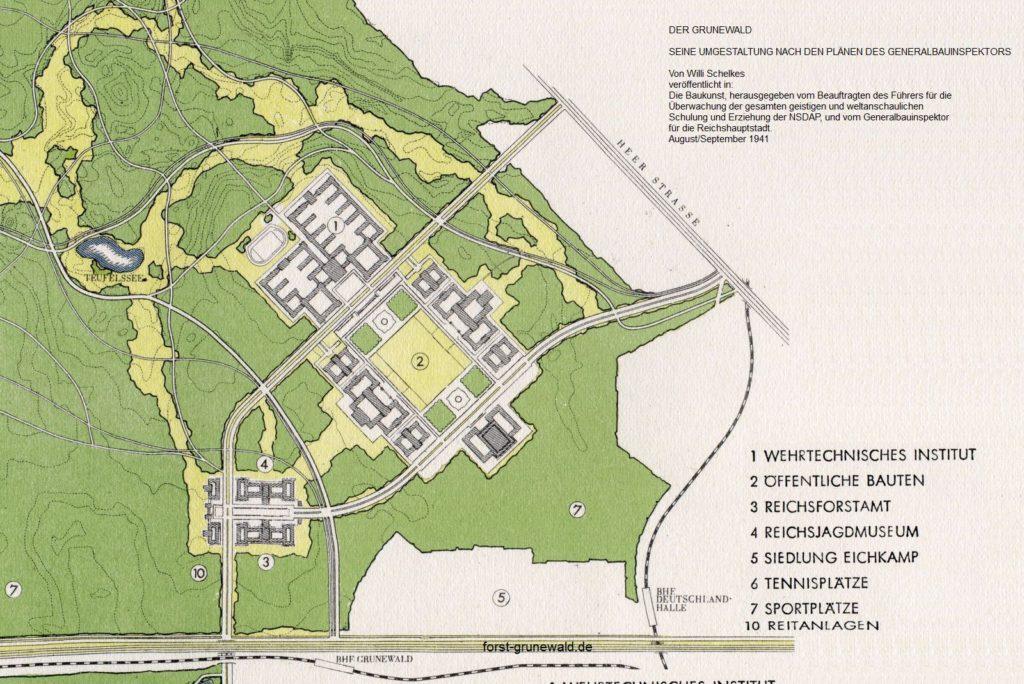 1941-08 Waldpark Grunewald - Die Baukunst - 05 Flaechenplanung Hochschulstadt klein
