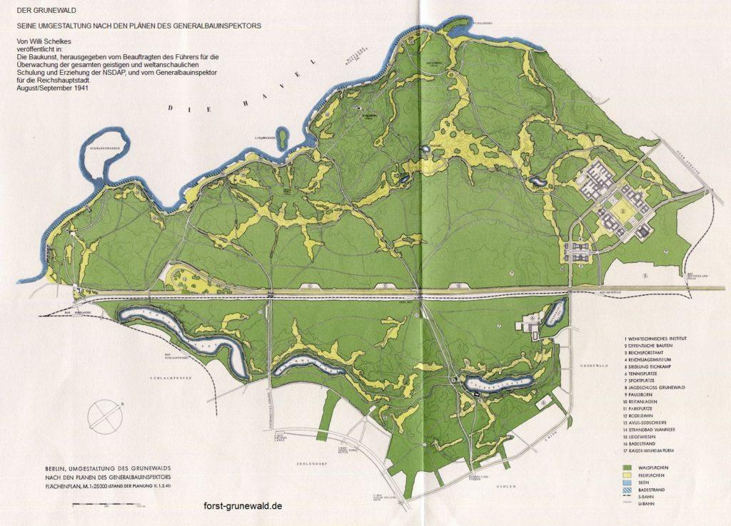 1941-08 Waldpark Grunewald - Die Baukunst - 05 Flaechenplanung klein